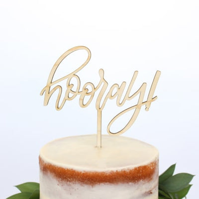 Wooden Hooray Cake Topper