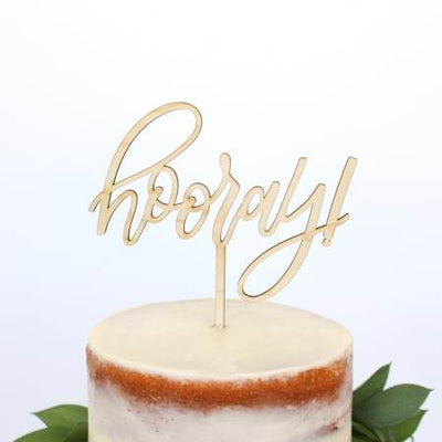 """Hooray"" Wooden Cake Topper"