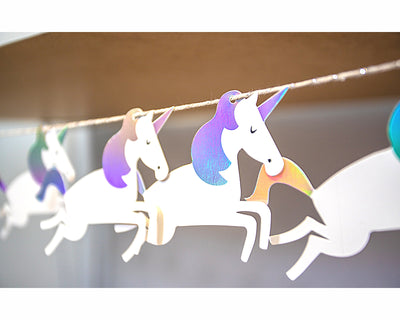 iridescent unicorn party banner
