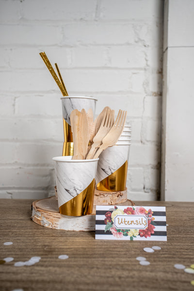 Marble and Gold Foil Party Cups and Utensils
