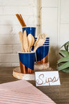Navy and Rose Gold Foil Party Cups and Utensils