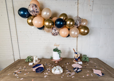Navy Blush and Rose Gold Party Tableware and Decor