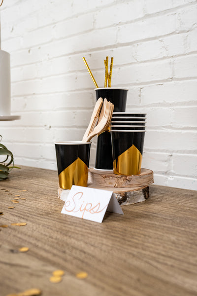 Noir Black and Gold Party Cups and Utensils