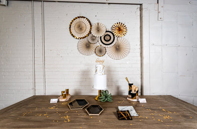 Noir Black and Gold Party with Decorative Fan Backdrop
