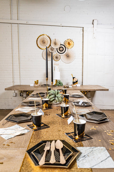 Black Noir and Gold Party Table Setup
