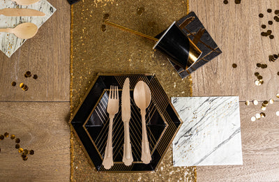 Noir Black and Gold Party Tableware Setup