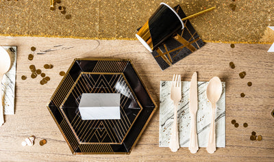 Black Noir and Gold Party Table Setting