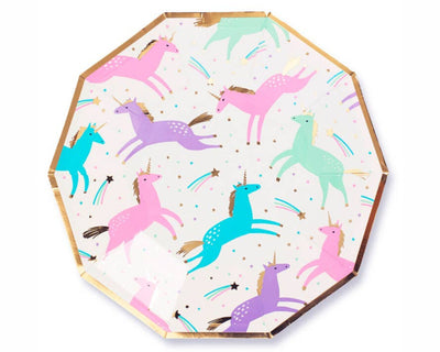 pastel unicorn paper party plates with gold foil