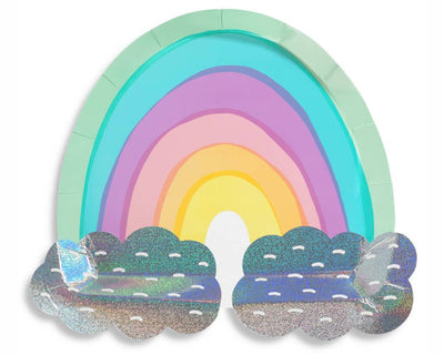 pastel rainbow paper party plates with iridescent foil