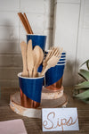Rose Gold and Navy Party Cups with Utensils