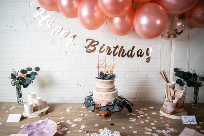 Purple and Rose Gold Birthday Party Supplies
