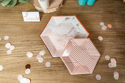 Marble Blush and Rose Gold Foil Plates