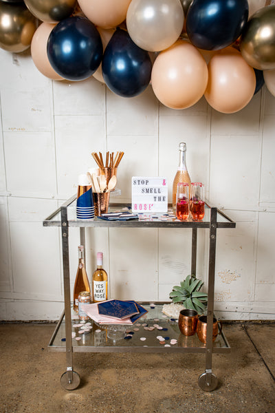 Navy Blush and Rose Gold Party Decor