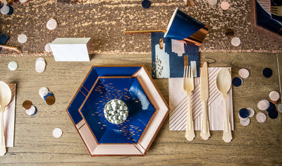 Navy Blue and Pink with Rose Gold Foil Party Tableware