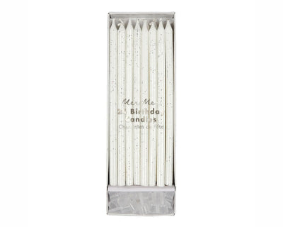silver glitter birthday party candles