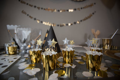 New Years Eve Party Metallic Treat Toppers and Baking Cups