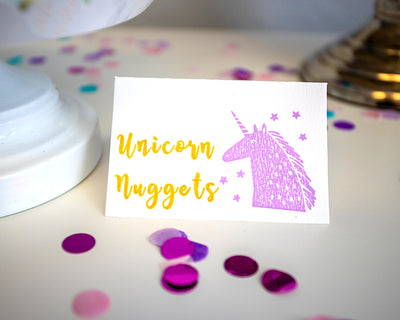 unicorn hand stamped place card