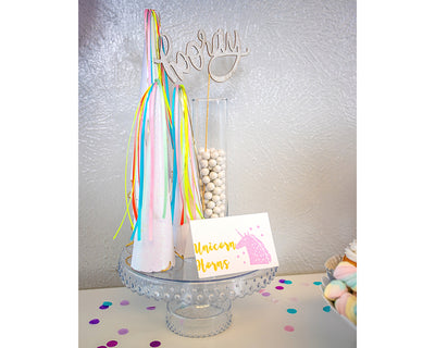 unicorn horn party hats and hooray cake topper