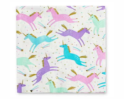 pastel unicorn paper party napkins with gold foil