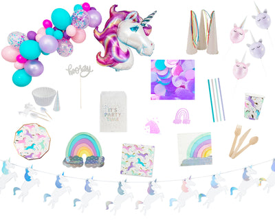 unicorn rainbow party in a box contents