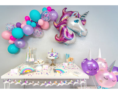 unicorn rainbow party in a box kit setup