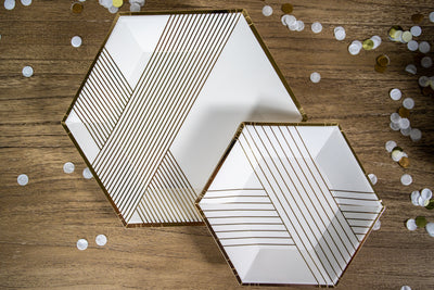 White and Gold Foil Paper Party Plates