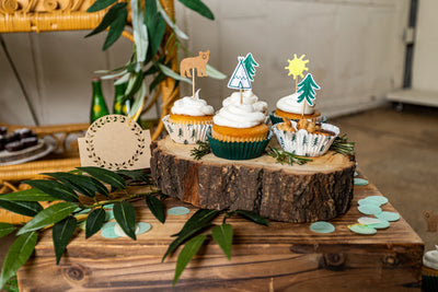 Woodland Adventure Party Cupcakes with Toppers