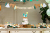 Woodland Adventure Dessert Table with Adventure Awaits Backdrop