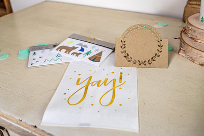 Gold Foil Treat Bag with Woodland Tattoos and Kraft Laser Cut Place Card