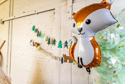 Woodland Adventure Banner with Fox and Confetti Balloons