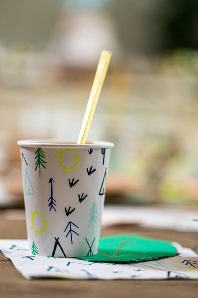 Woodland Adventure Party Cup with Gold Foil Paper Straw