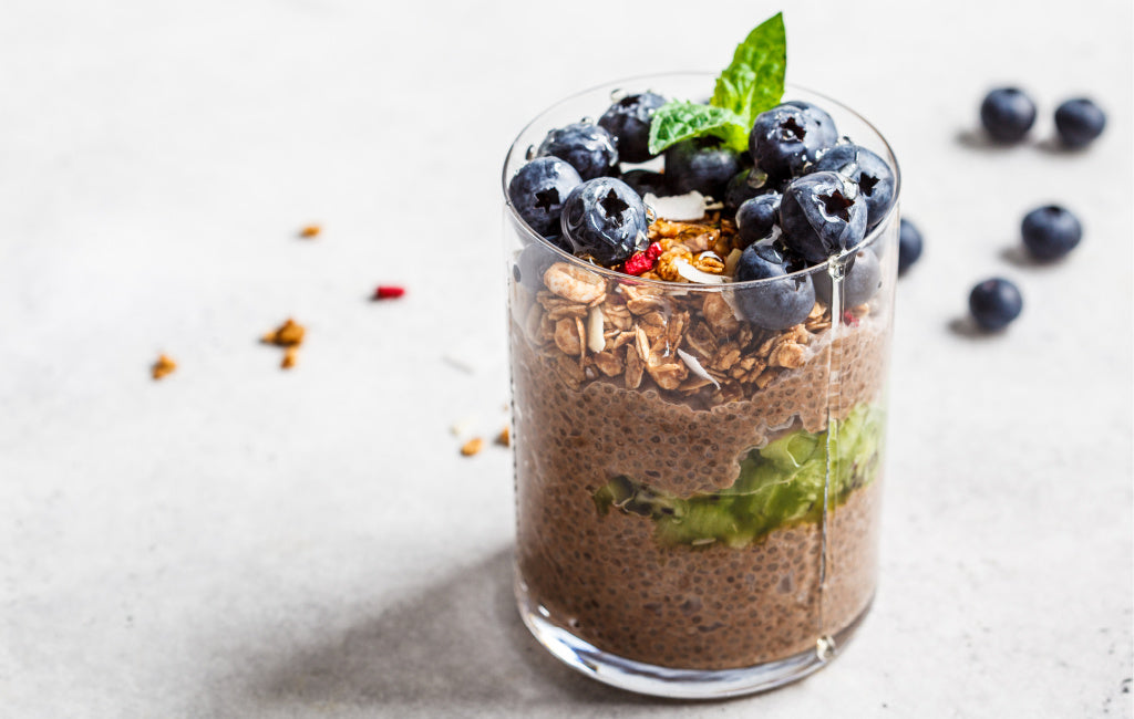 chocolate chia pudding with cbd oil