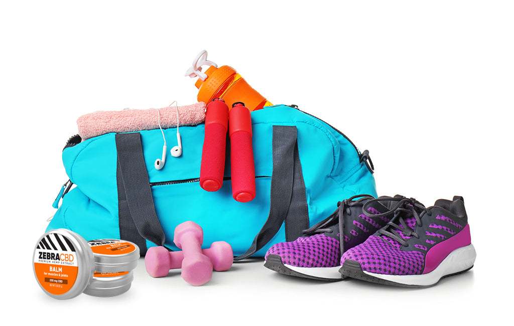 gym bag and contents with zebra cbd for muscle pain