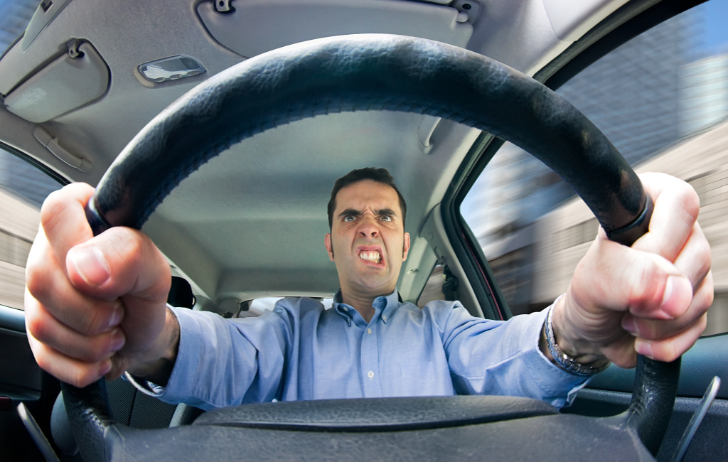 stressed man driving