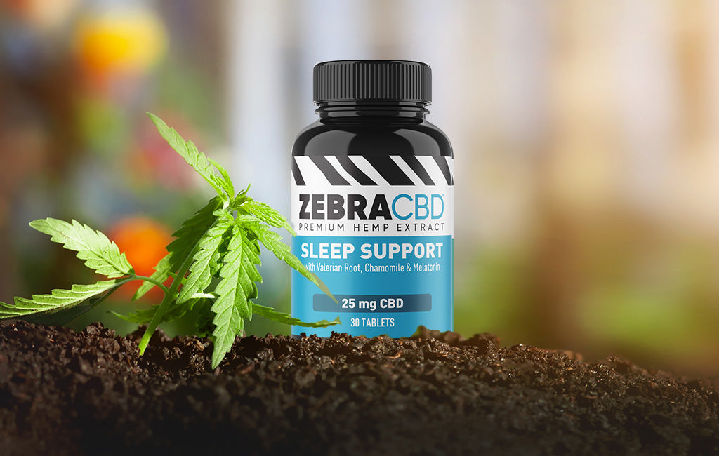 zebra cbd sleep tablets in hemp garden