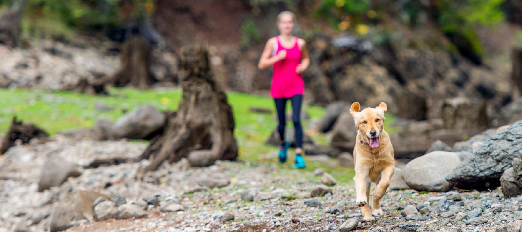 woman and dog running - hip & joint chews for dogs