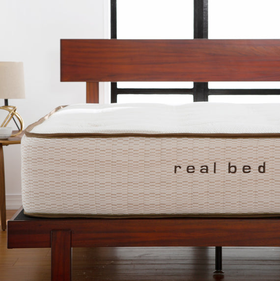 Real bed natural mattress close up image