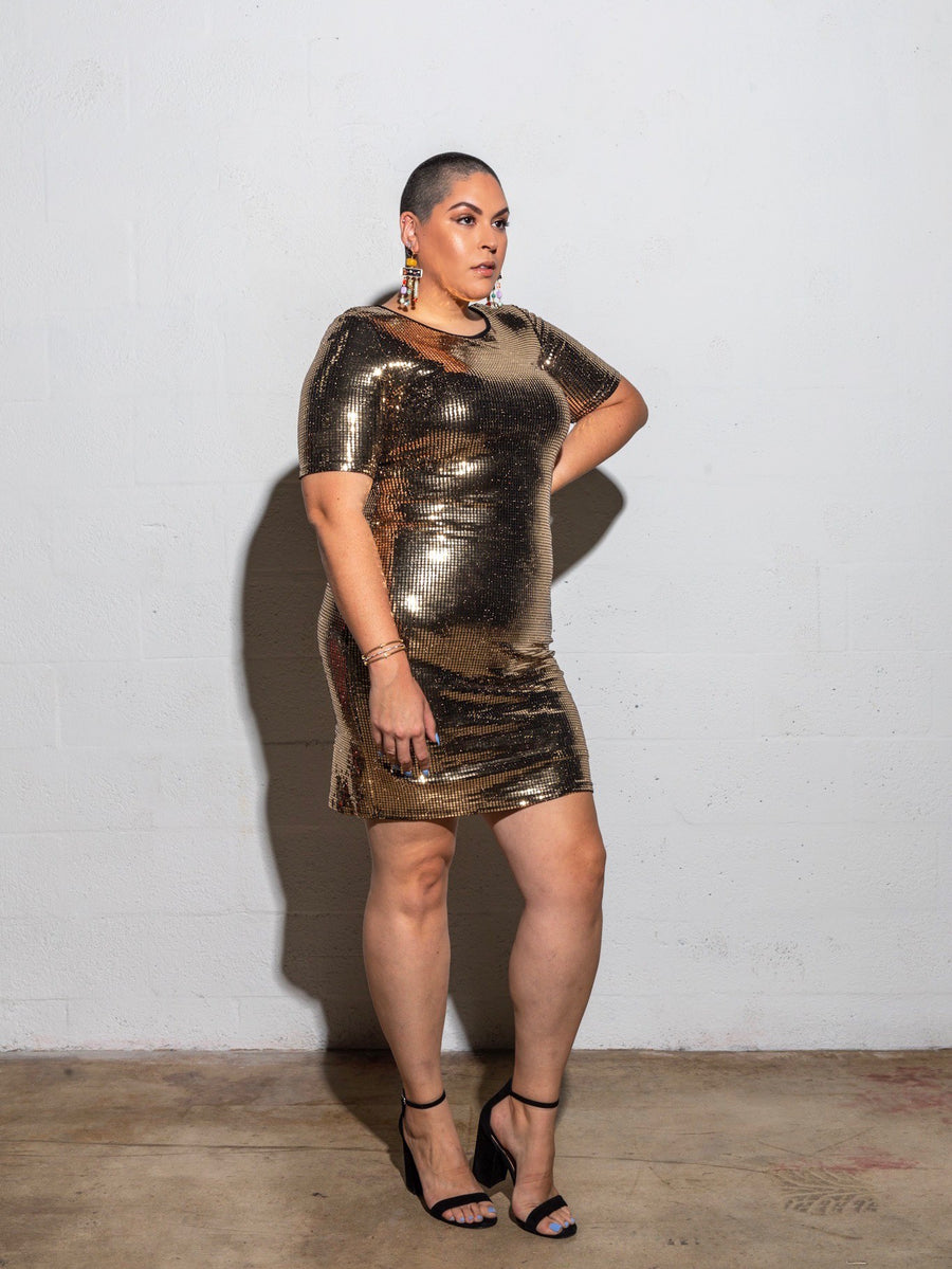 'Bronze Drip' Party Dress