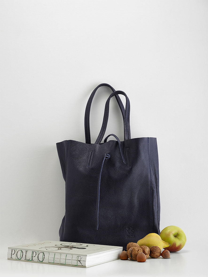 Calf-Skin Campo Tote, Navy