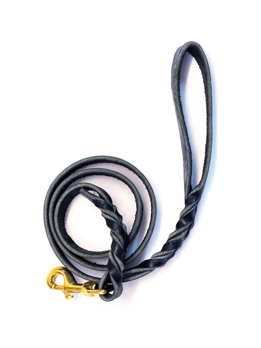 Twisted Leather Dog Lead, Nero.
