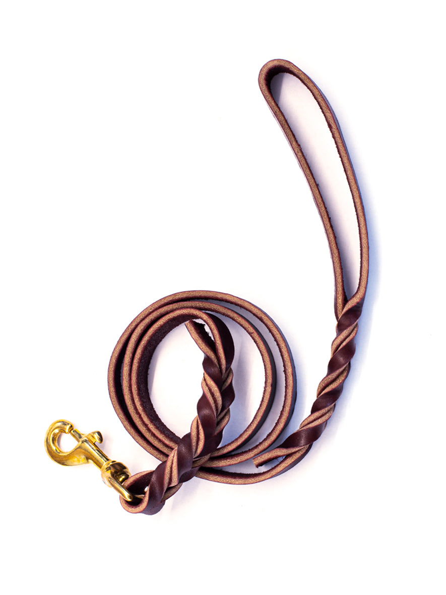 Twisted Leather Dog Lead, Bordo