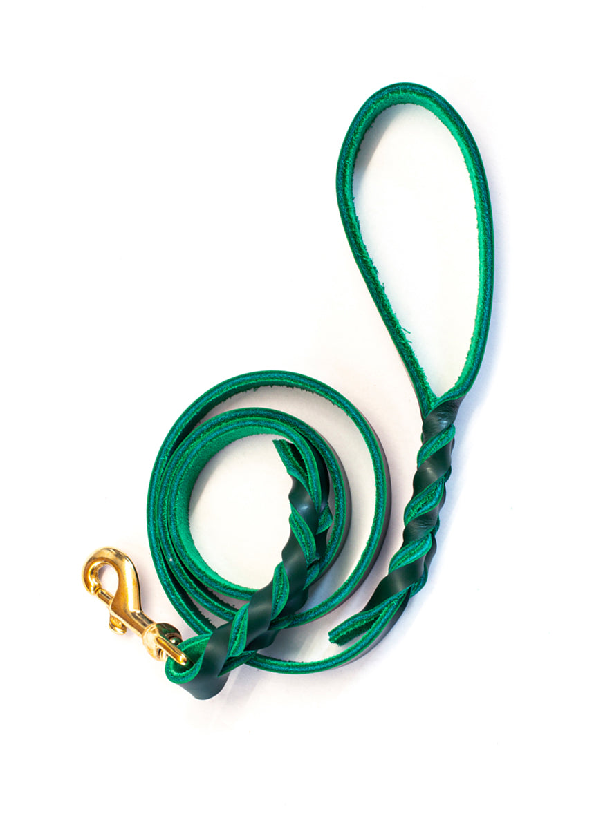 Twisted Leather Dog Lead, Verde