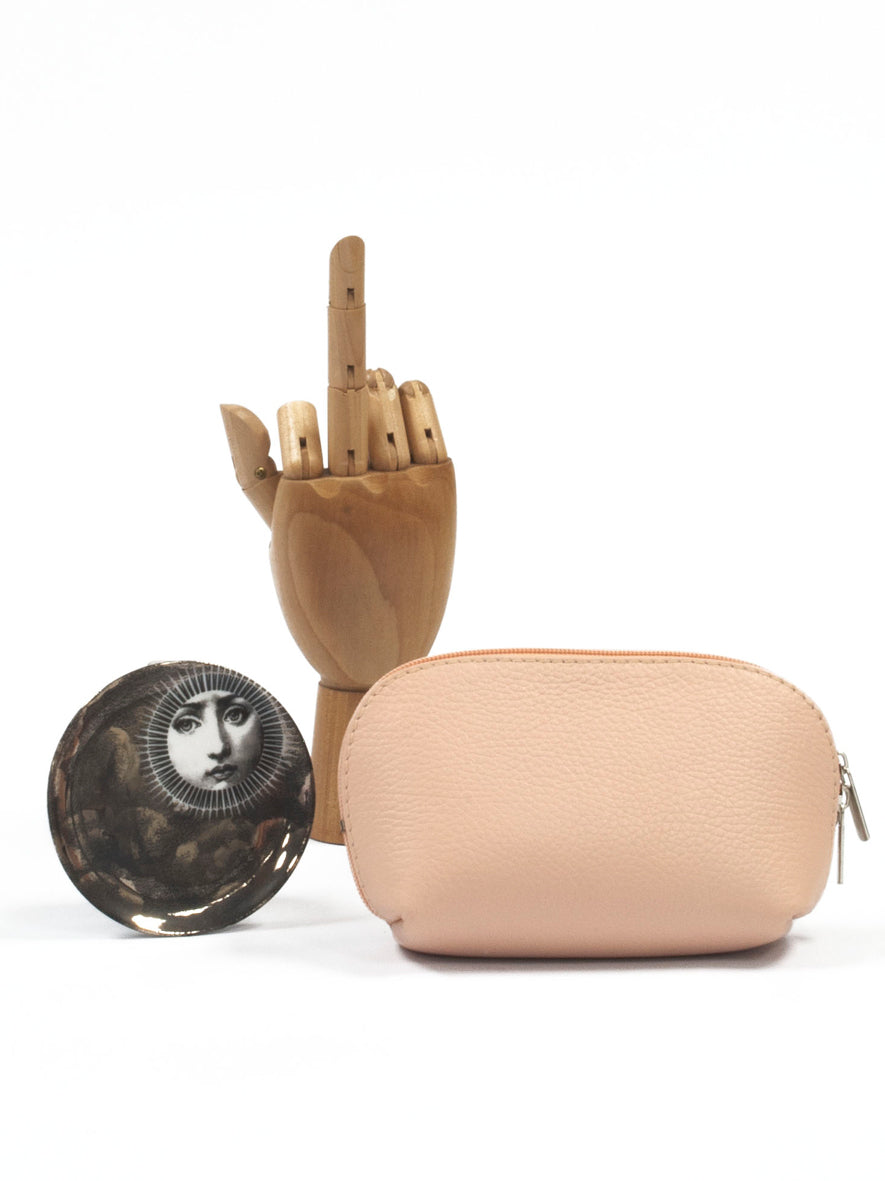 Leather 'Trucco' Zippy Pouch, Rosa