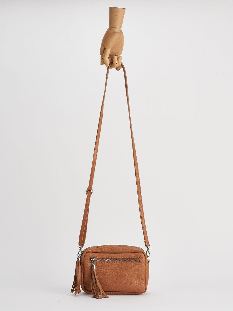 Sofia Cross-Body Shoulder Bag, Cuoio
