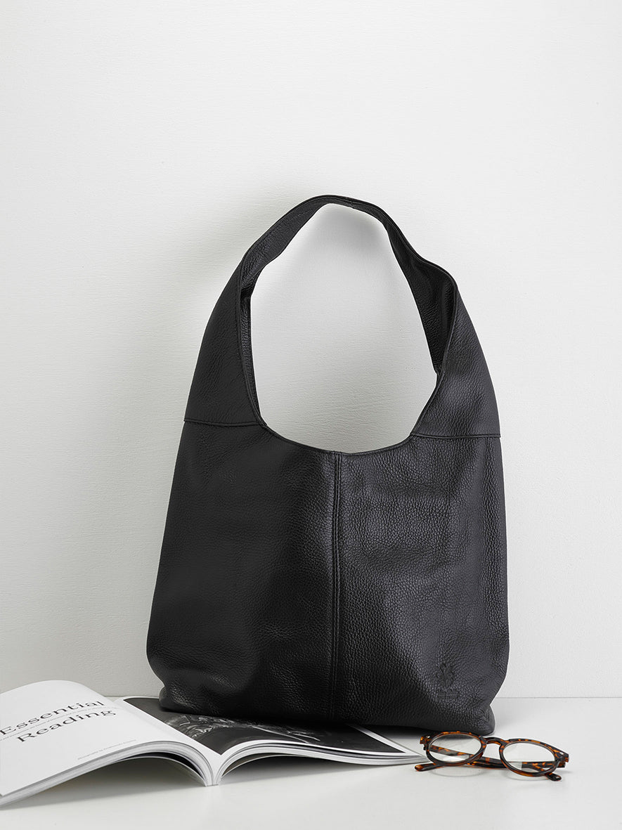 Slouchy Calf-Skin Bag, Black