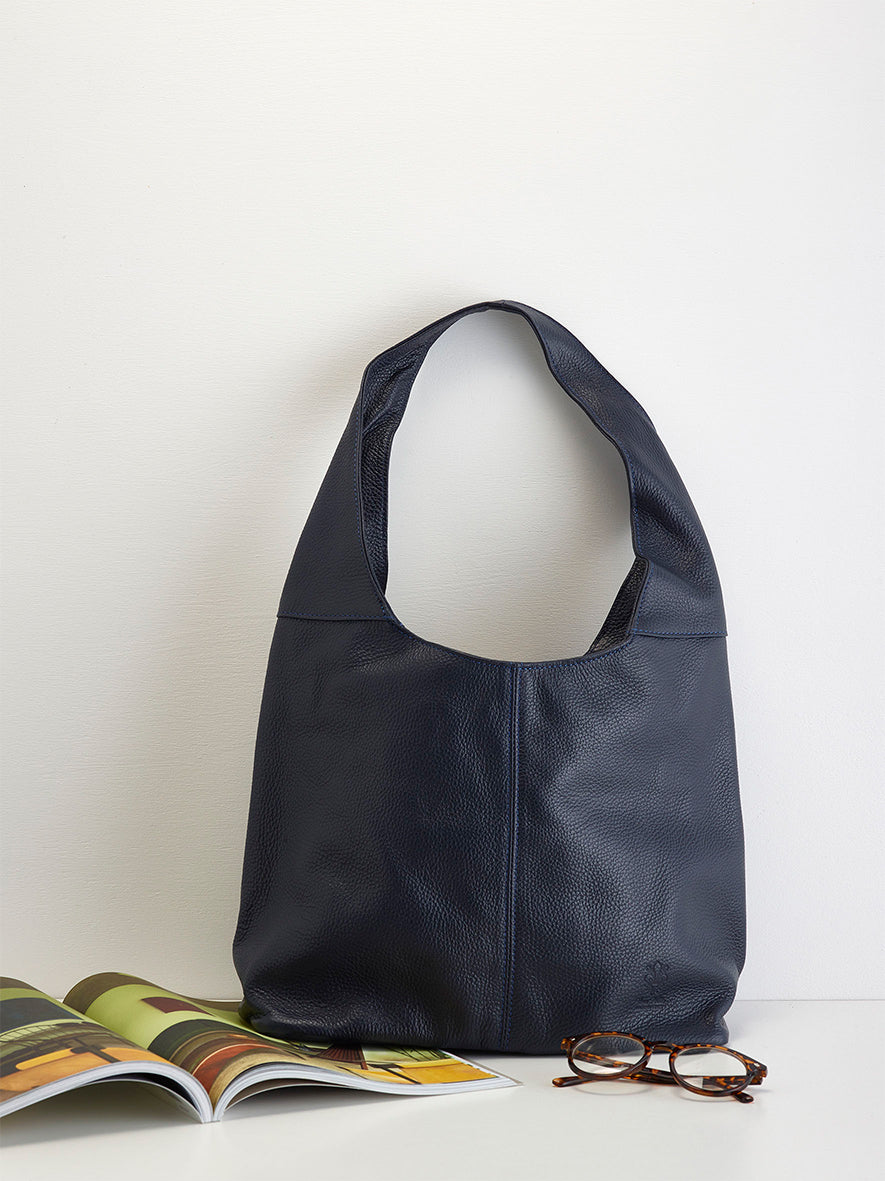 Slouchy Calf-Skin Bag, Navy