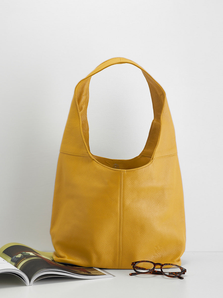 Slouchy Calf-Skin Bag, Zafferano