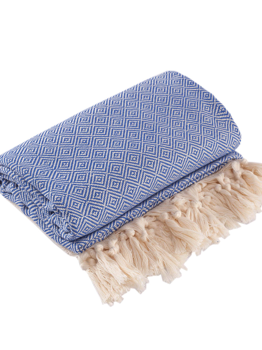 Diamond Peshtemal Towel, Blue