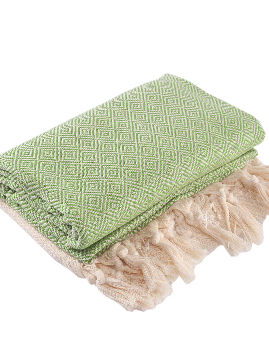 Diamond Peshtemal Towel, Green