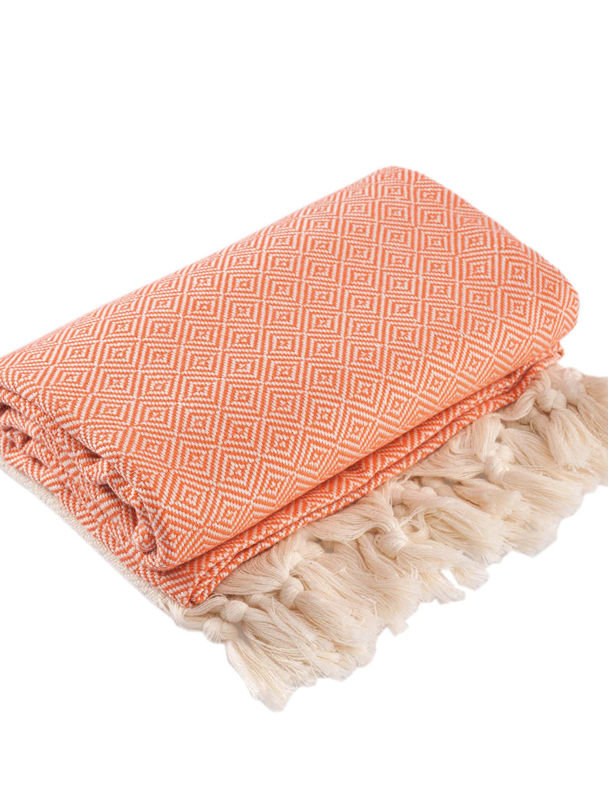 Diamond Peshtemal Towel, Orange